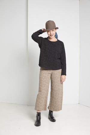 Black Crane Jacquard Pants