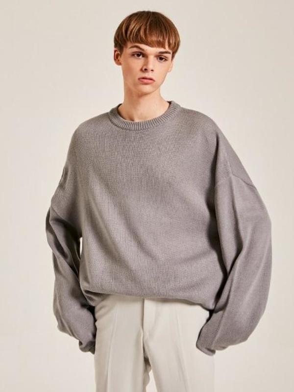 Mens Yan13 Oversize Line Knit Sweater Gray Garmentory
