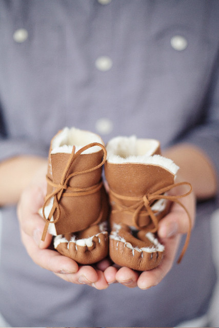 Baby Becky Brisco Shearling Leather Moccasins