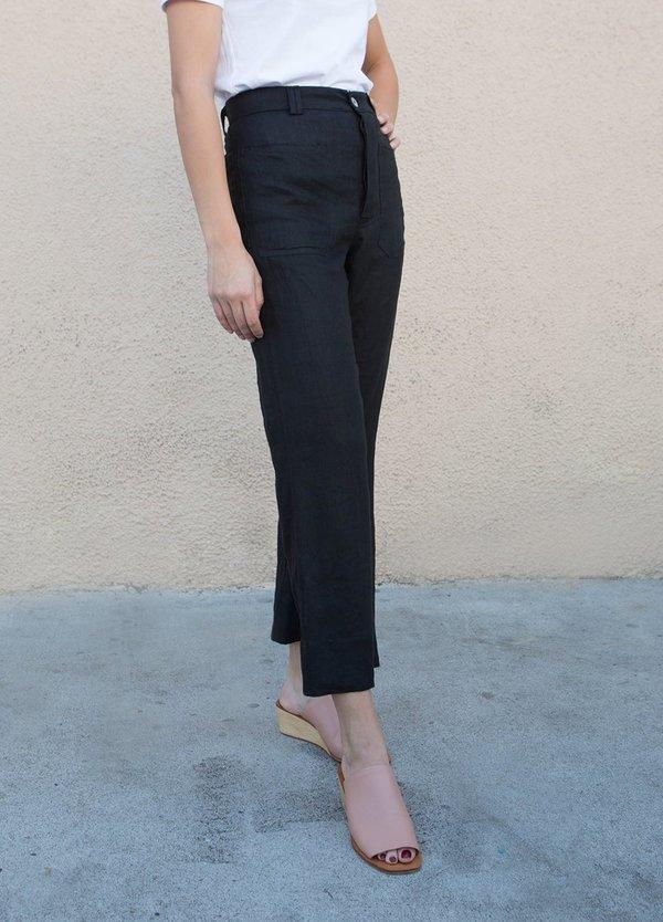 Sasha Darling Linen Sailor Jean Pants - BLACK