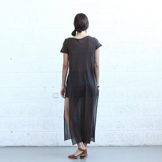 naftul Striped Maxi T-shirt Dress