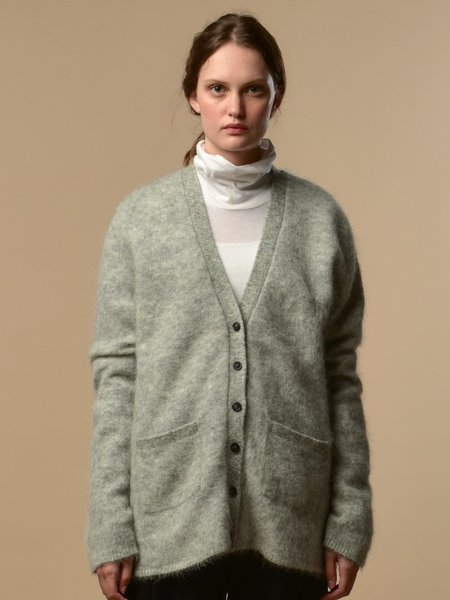 PURE CASHMERE NYC Mohair Classic Cardigan - Light Grey