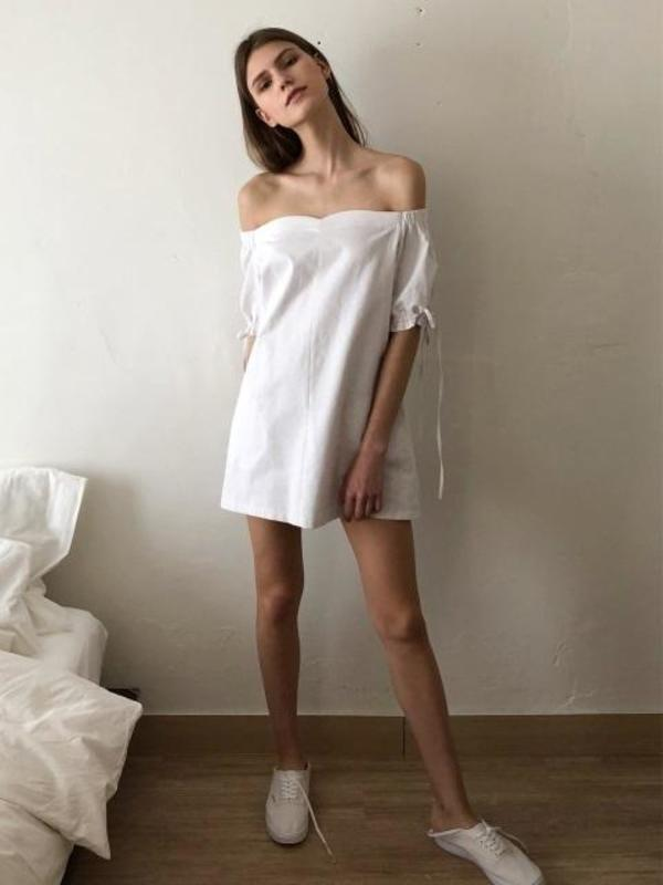 5870e2206c10 ECOMMAE Tulip Off The Shoulder Linen Mini Dress - White