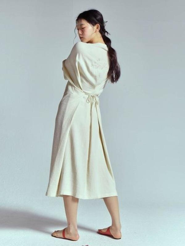 d798956ba9 LES VACANCES Linen Very Long Dress - Ivory. sold out