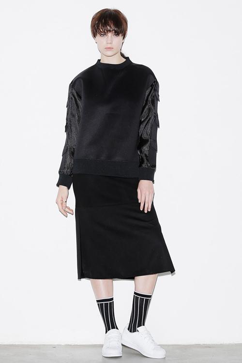 ROCKET X LUNCH Block Side Slit Skirt- Black