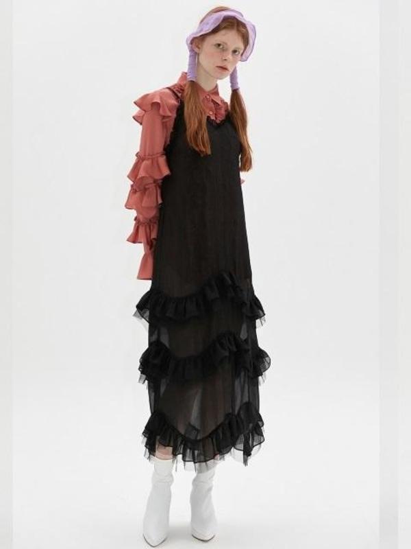 Dew E Dew E Chiffon Bustier Dress Black Garmentory