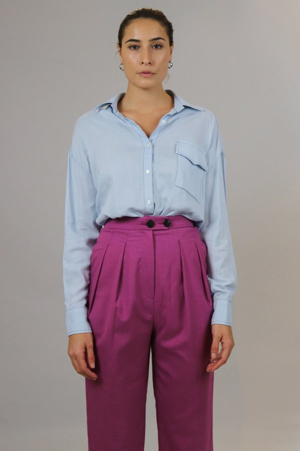 W A N T S Buttoned Down Top - Light Blue