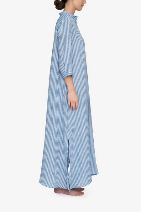 The Sleep Shirt Full Length Linen Sleep Shirt - Double Blue Stripe