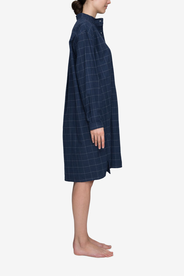 d44912cef7 The Sleep Shirt Long Flannel Sleep Shirt - Navy Windowpane
