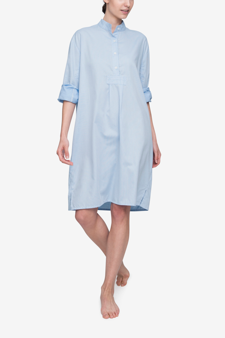 The Sleep Shirt Long Sleep Shirt - Soft Blue Stripe