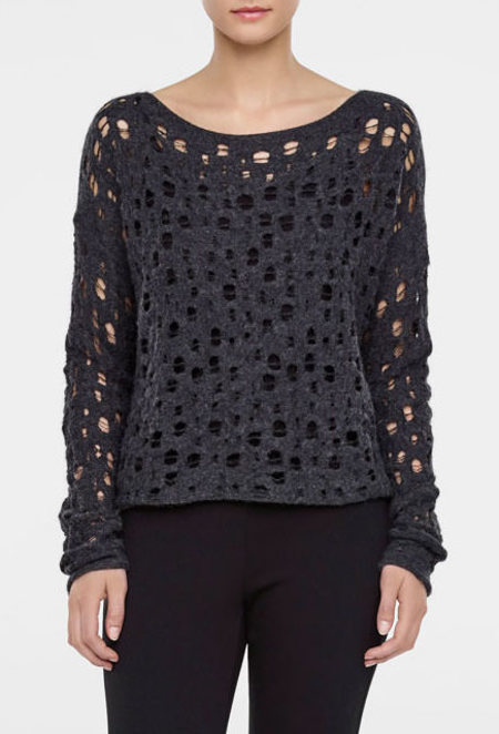 Sarah Pacini long sleeves holey sweater - black