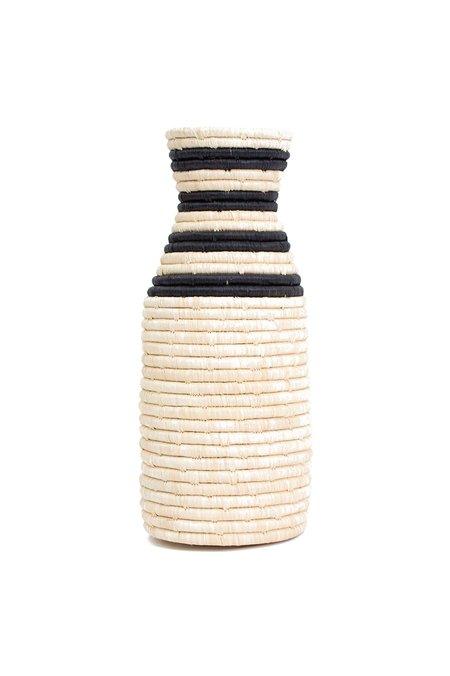 All Across Africa Striped Black Raffia Vase