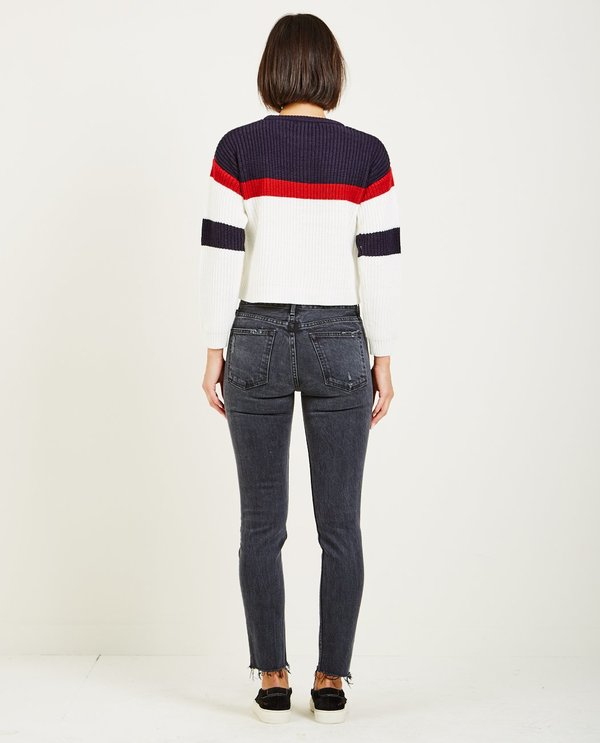 Obey ALLIE STRIPED CREWNECK SWEATER - Navy. sold out. Obey affeeae1f