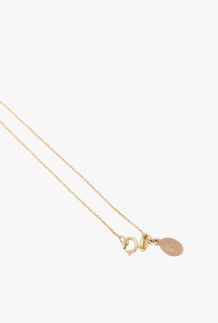 Blair Lauren Brown White Diamond Pave Mini Bar Necklace - 14k Gold