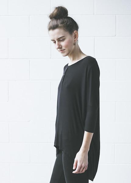 Dolan 3/4 Sleeve Henley in Black