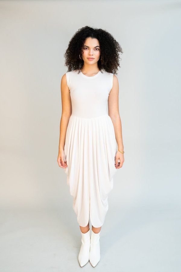 Norma Kamali Sleeveless Waterfall Dress