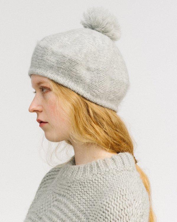 cca585f7 Micaela Greg pom pom alpaca beret - grey heather | Garmentory