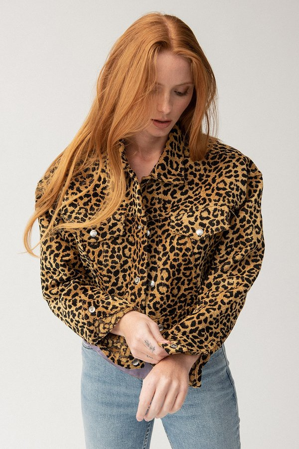 981a48d2ceb7 RE/DONE Cropped Jacket - Leopard | Garmentory