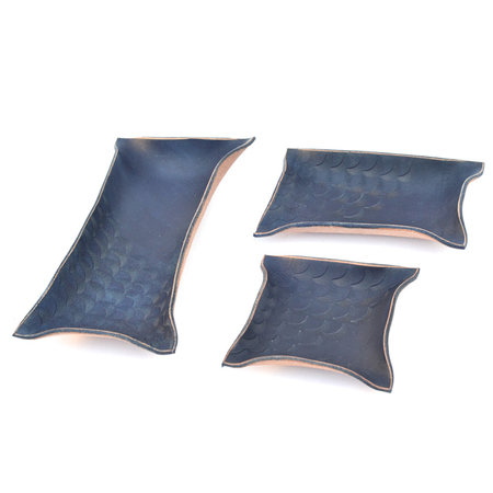 Made Solid Stamped Hand Shaped Tray - Indigo