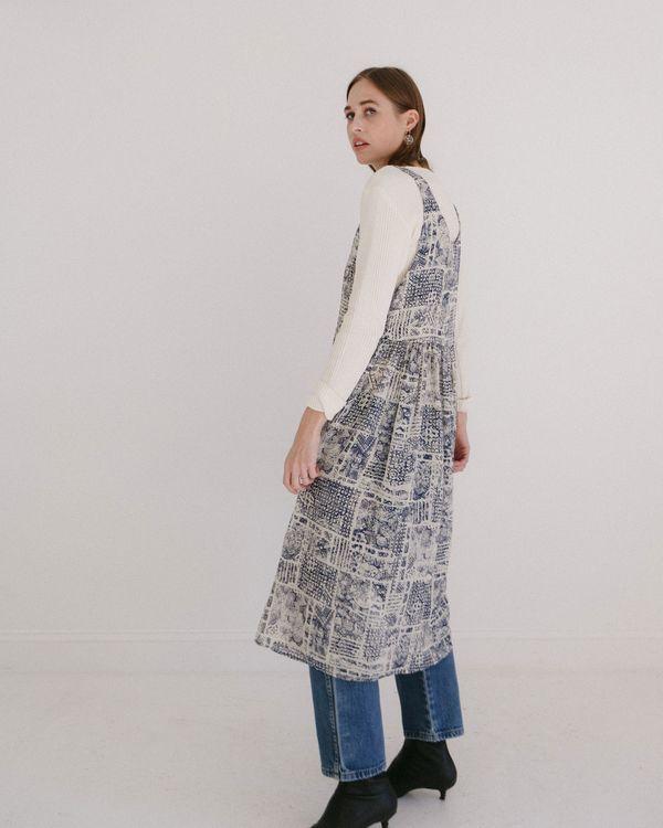 af1d798d8d Kaleidos Vintage Printed Jumper Dress - Denim Blue Cream