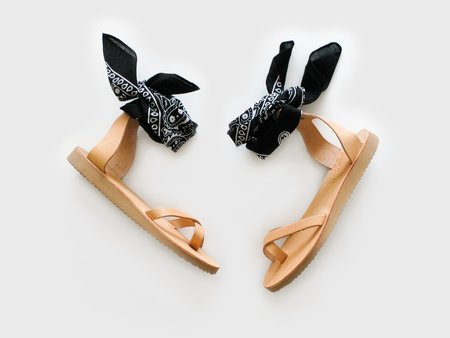 Greek Chic Natural Bandana Sandals