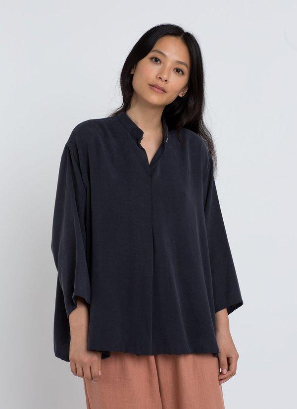 88139fe748105 KAAREM Sand Wave Mid Sleeve Pleat Shirt - Dark Blue