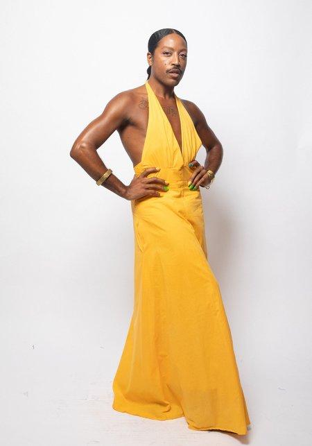 Studio One Eighty Nine Natural Dye Cotton Halter Dress - YELLOW ANNATTO