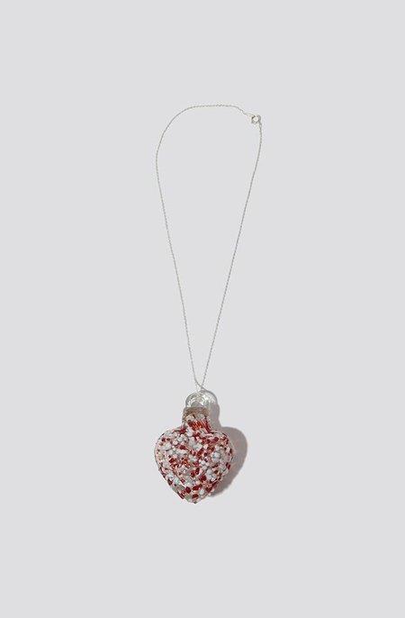 Alexa De La Cruz Glass Heart Necklace - White/Red