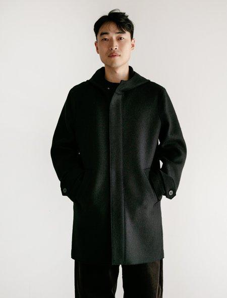 Harris Wharf London Pressed Wool  Long Parka - Black