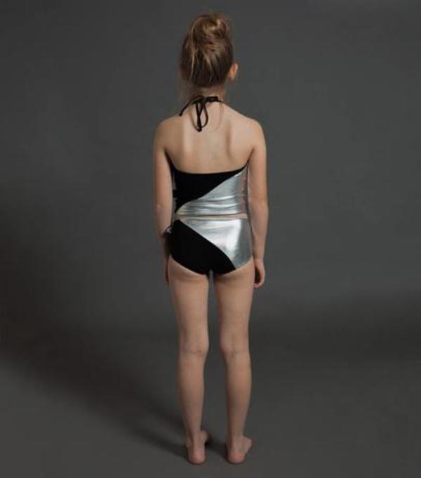 KIDS Nununu 1/2 & 1/2 Collar Bikini - BLACK/SILVER