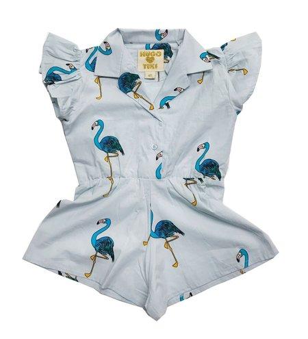 Hugo Loves Tiki Flamingos Ruffled Romper - BLUE