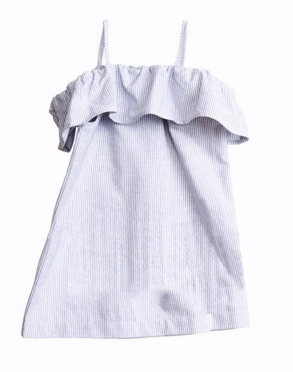 KIDS Belle Enfant Bardot Off-The-Shoulder Dress - BLUE