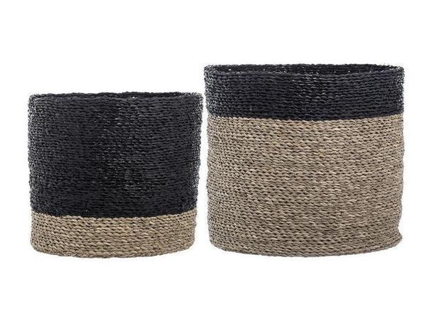Bloomingville Colorblock Seagrass Basket Set - black