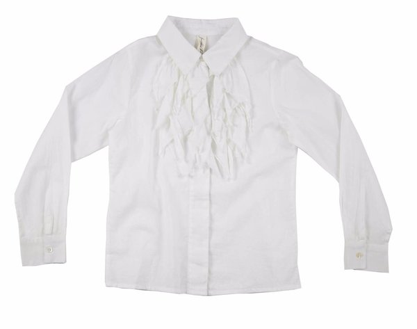 KIDS Feather Drum Elodie Ruffle Blouse - WHITE