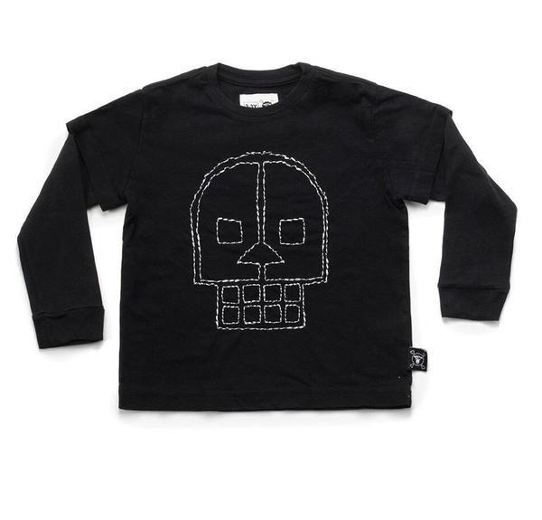 KIDS Nununu Embroidered Skull Long Sleeve T-Shirt - BLACK