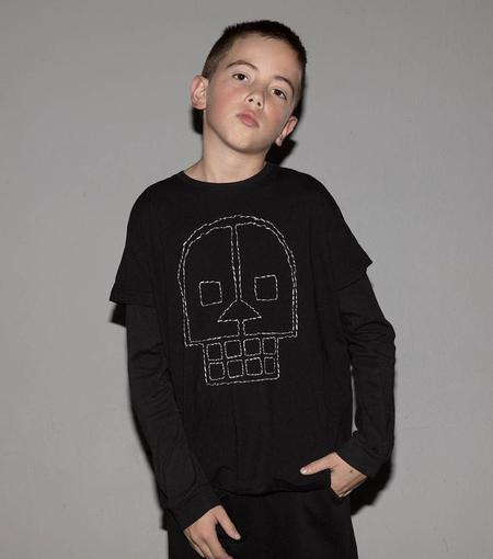 KIDS Nununu Embroidered Skull Long Sleeve T-Shirt - BLACK