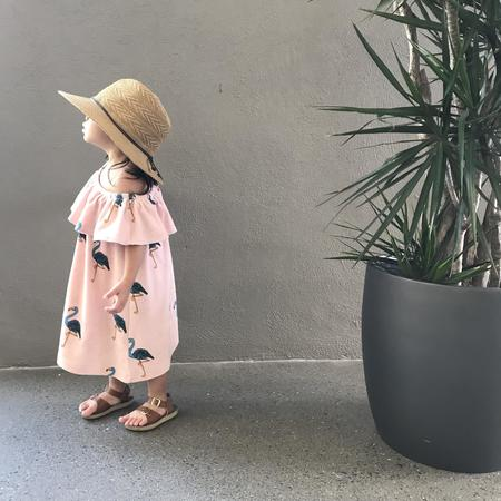 KIDS Hugo Loves Tiki Flamingos Terry Ruffled Dress
