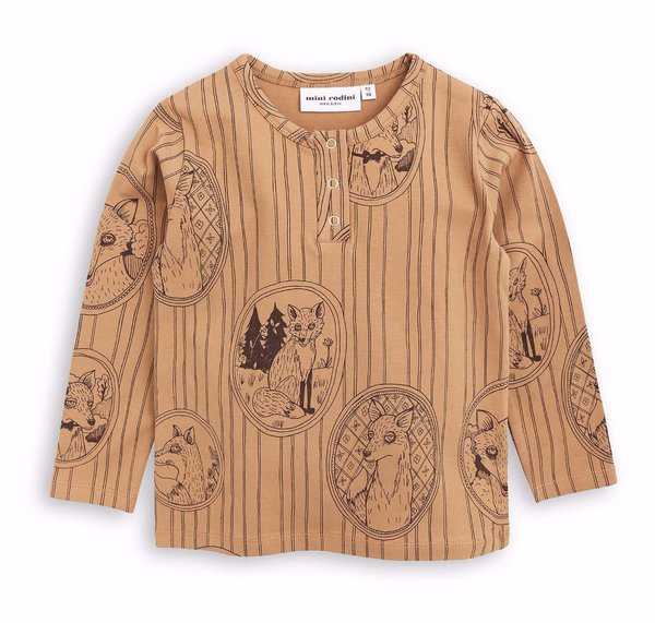 KIDS Mini Rodini Fox Family Grandpa Shirt - BROWN