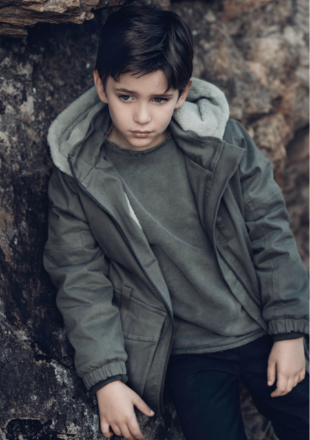KIDS Andorine Hooded Denim Coat - GREEN