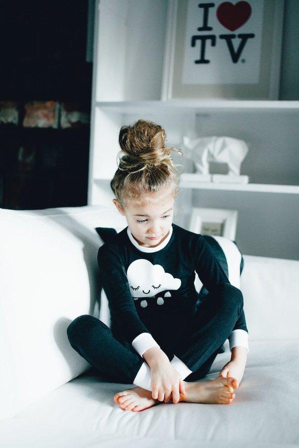 d1081b4fc217cd KIDS WHISTLE & FLUTE Kawaii Sleepy Cloud Pajama Set - BLACK/WHITE ...