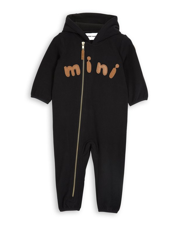 KIDS Mini Rodini Mini Fleece Onesie - BLACK