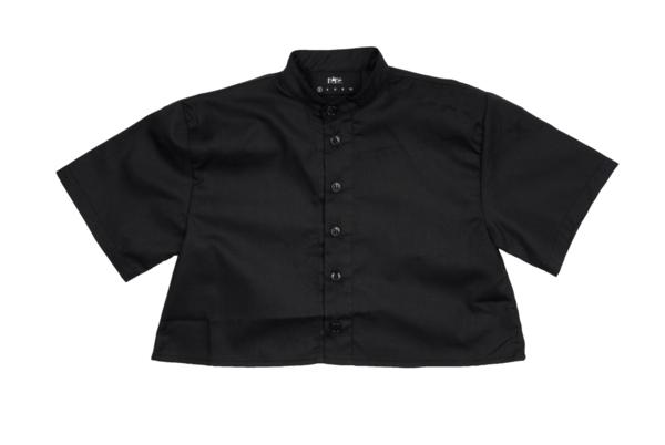 KIDS Meme Nico Cropped Button-Up Shirt - BLACK