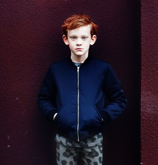KIDS LITTLE MAN HAPPY Not Scared Bomber Jacket - BLUE