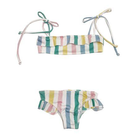 KIDS Hugo Loves Tiki Pastel Stripe Ruffled Bikini