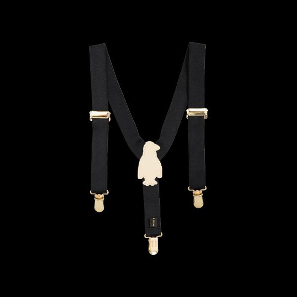KIDS Mini Rodini Penguin Braces Suspenders - BLACK