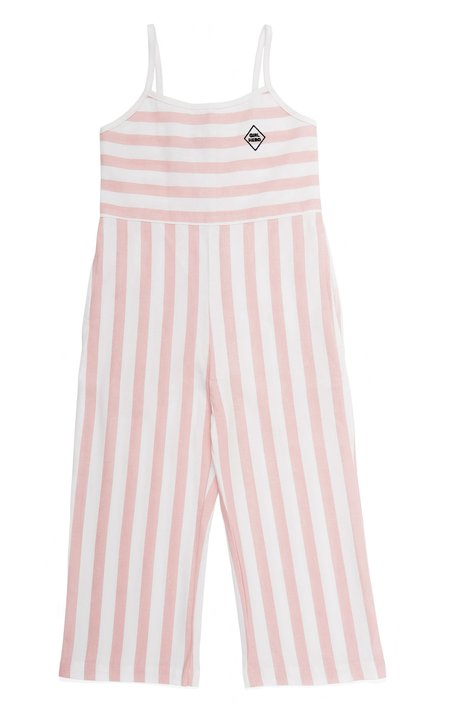 KIDS TRESSY Pink and White Stripe Jumpsuit