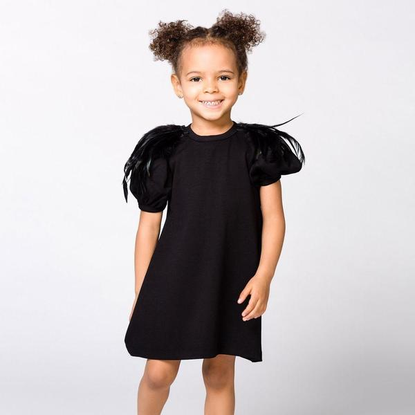 Kids The Tiny Universe The Tiny Feathers Dress - Black