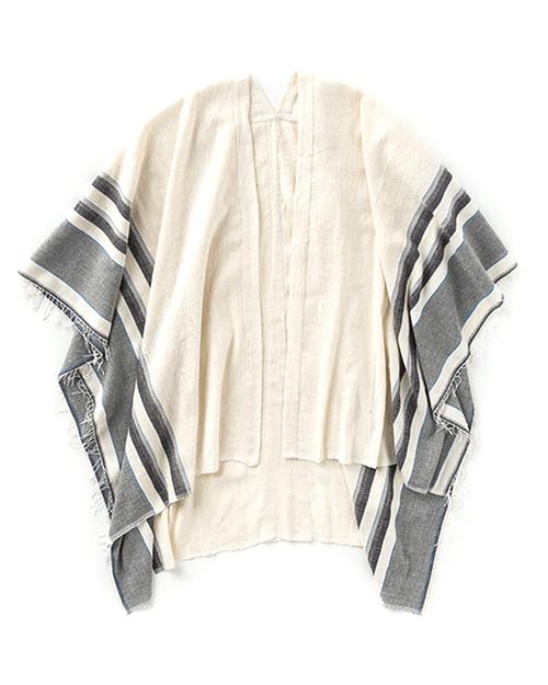 LemLem Aranya Blanket Poncho in Charcoal