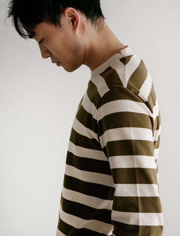 252b91c659 Norse Projects Johannes Rugby Stripe Tee - Sitka Green | Garmentory