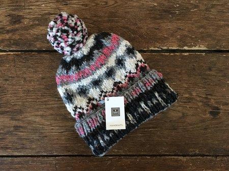 Chamula Handknit Pompom Hat - Fair Isle Pink